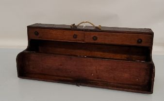 A large late 19th early 20th century stained pine tool box, rectangular form with brass brackets and