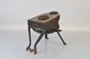 A set of oak and leather foot operated dentist bellows, on iron frame, makers plaque inscribed