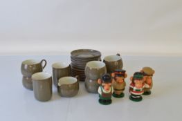 A Denby stoneware part teaset, comprising six tea cups, two coffee cups, milk jug, twelve plates and