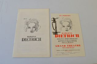 Two theatre programmes, for Marlene Dietrich in Person at the Grand Theatre Wolverhampton 13th