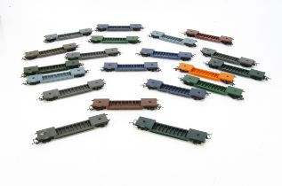 Tri-ang 00 Gauge Bogie Well wagons, twenty example ranging from light blue, orange , brown,