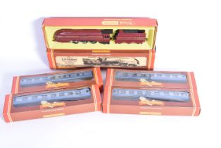 Hornby 00 Gauge Coronation Locomotives and Coaches, R685 LMS blue 6220 'Coronation' and R422 (3)