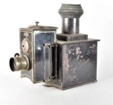 An unusual 19th Century French gold-lined black-painted tinplate Demonstrational Magic Lantern, with