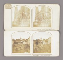 Stereoscopic Cards, various periods - French salt print cards - St Ouen, Rouen, Chartres bridge,