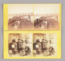 Early 1860s Stereoscopic Cards, including UK topographical, including Brown & Wheeler, Ryde Pier (