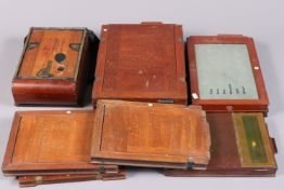 Mahogany Glass Negative and Cut Film Handling Accessories, comprising three whole plate DDS plate