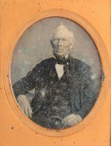 Cased Portrait Daguerreotypes of Gentlemen, quarter-plate - elderly gentlemen, spectacles in left