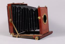 A Henry Park Whole Plate Field Camera Body, circa 1895, square-cornered tapered bellows, double