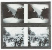 Stereoscopic Glass Diapositives, 130mm x 60mm, travels in France and Alps (51) and negatives (24),