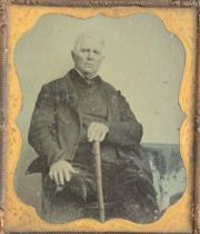 Cased Portrait Ambrotypes, sixth-plate - one in Union case (15), ninth-plate - two in Union cases (