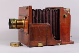 A Whole Plate Meagher Transitional Tailboard Camera, circa 1870s, manufacturer's plate states