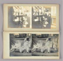 Stereoscopic Cards, still-life views of toys, dolls and teddy bears, including Lehmann Mandarin,