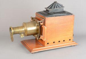 Late 19th Century Magic Lantern and Portable Stand, mahogany and brass mahogany magic lantern, 1890s