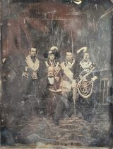 A Whole-Plate Daguerreotype of Four Freemasons or Odd Fellows In Full Regalia, with older seated and