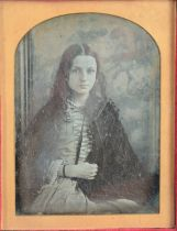 Cased Portrait Daguerreotypes of Ladies, quarter-plate - long-haired girl in cape, G, some edge
