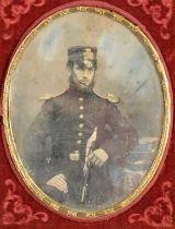 Cased Portrait Daguerreotypes of Gentlemen, oval quarter-plate - young bearded officer, sword in