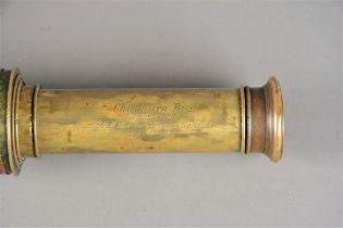 A late 19th Century brass Three-Drawer Chadburn Telescope, signed 'Chadburn Bros, Opticians to HRH