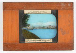 Magic Lantern Slides, mahogany or wood-mounted - hand coloured printed views, including day and