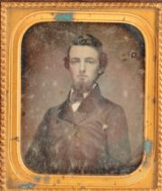 Portrait Daguerreotypes of Gentlemen, wall-hanging quarter-plate (2) and sixth-plate - young bearded