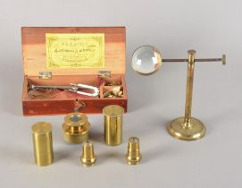 Microscope Parts and Accessories, lacquered brass - R & J Beck objectives (2), Nicol eyepiece and