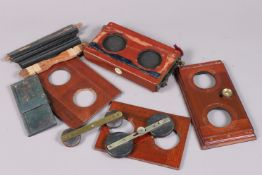 Stereo Camera Components, including a Thornton Pickard stereo roller blind shutter, not working, two