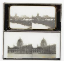 Stereoscopic Glass Diapositives, 19th Century UK and European topographical, some Palestine, P-G, (