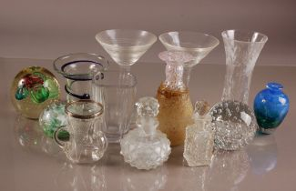 A collection of late 19th and 20th century glass, including a pair of Stuart Crystal Martini