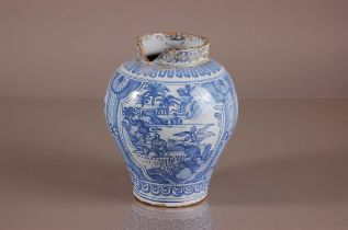 A 19th century British delft pottery vase, heavily damaged to neck, ovoid blue and white decoration,