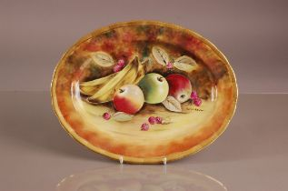A second half 20th century Baroness China porcelain oval plate, 35cm, hand painted with fruit,
