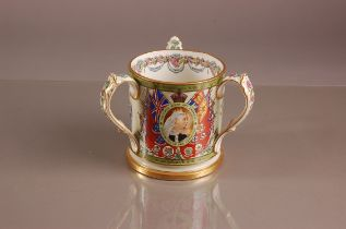 A Victorian Copeland pottery commemorative tyg, 14cm, commemorating the Transvaal War 1899 to