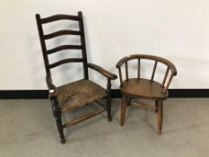 Two vintage children's chairs, one ladder back, the other with horseshoe shaped top rail (2)