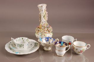 Four 19th century British porcelain tea cups, together with a cup and saucer with side plate and a