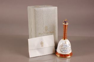 A 1960s Royal Crown Derby porcleain commemorative bell, 20cm, celebrtrating the Investiture of the