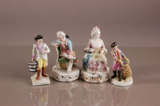 Four 19th century German porcleain figures, AF, including a lady and a gentleman sat on chairs, a