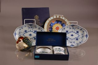 A pair of second half 20th century Royal Copenhagen porcelain oval onion pattern style dishes,