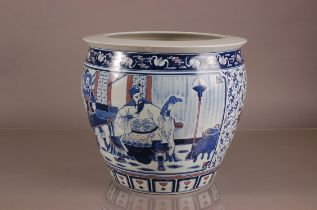 A large modern Chinese porcelain plant pot, 32cm high, chipped to rim, with a wooden stand,