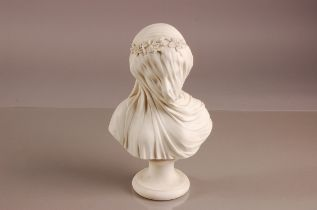 A Victorian W.H. Goss parian porcelain bust of a lady, 27cm, in fine veil with floral hair dress, on