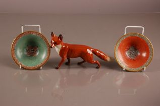 A pair of mid 20th century DJ Copenhagen porcelain dishes by C. Henriksen, 13.5cm, together with a