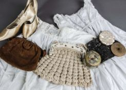 A small collection of 20th century clothes, including three mid 20th century skirts and a polka