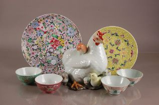 A second half 20th century Chinese porcelain chicken and chick group, 26cm high, together with two