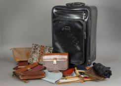 A small group of luggage and handbags and other items, including a Schedoni tan suitcase marked