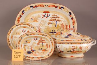A Victorian Wedgood pottery Willow pattern part dinner service, with large meat dishes, serving