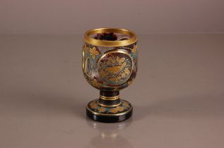 A first half 20th century Bohemium flash and cut glass goblet, 14.5cm, in the Moser for Karlsbad