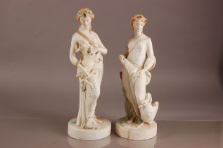 Two Victorian W.H. Goss parian porcelain figures, tallest 44cm, modelled as classical semi-nude