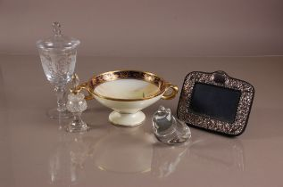 A modern Wedgwood glass frog paperweight and other items, including a silver fronted photograph