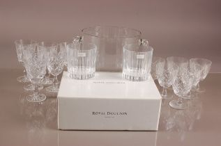 A set of six modern Royal Doulton glass whisky tumblers, boxed, together with two sets of six cut