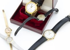 Five vintage and modern wristwatches, including a c1970s Tissot lady's 9ct gold example, AF, 14.