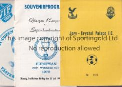 BRITISH CLUBS ABROAD A collection of 24 programmes featuring English and Scottish clubs in matches