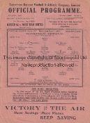 SPURS Single sheet programme Tottenham Hotspur v Reading 3/3/1943. Folds, score, scorers and team
