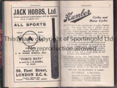 WISDEN Beautifully rebound without original covers John Wisden's Cricketers' Almanack 1921.